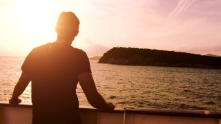 Peace Tranquility Young Man Standing Deck Ship Sunset Ocean Island Cruise Vacation Flare Water Future Calm Religious Spirituality Christianity Contemplating Inspiration God Summer Sun Uhd 4K