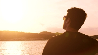Handsome Young Man Travel Ship Water Sea Nautical Theme Sun Glasses Sunset Land Horizon Island Cruise Holiday Trip Vacation Joy Happiness Lonely Lifestyle Contemplating Uhd 4K