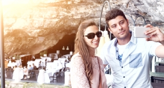 Young Attractive Couple Taking Selfie Picture Snapshot Vacation Cave Restaurant Five Star Hotel Luxury Vintage Happy Smiling Uhd 4K