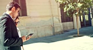 Success Business Man Woman Team  Equality Concept Businessman Businesswoman Tablet Technology Smartphone Applications App Store Uhd 4K