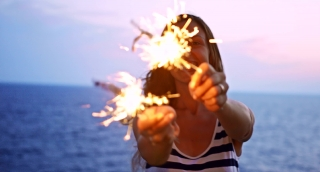 Attractive Young Female Dancing Fire Sparkler Candles Sunset Beach Happiness Paradise Tropical Location Uhd 4K