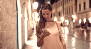 Attractive Young Female Tourist Woman Using Smartphone Travel Application Texting Sms Browsing Internet Wi-Fi 3G 4G Connection Fast Speed Technology Communication Concept Uhd 4K