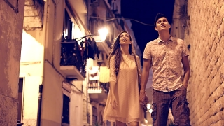 Beautiful Romantic Young Couple Walking Streets Travel Tourists Europe Vacation Holiday Romance Love Date Kiss Youth Engagement Concept Uhd 4K
