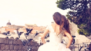 Princess Bride Vintage Wedding White Dress Running As Doves Fly Ancient Town Faith Tale Concept Dream Slow Motion Sequence Fort Church Houses Beautiful View Dubrovnik Uhd 4K