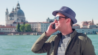 Man Talking Call Smartphone Cool Communication Handsome Travel Smiling Sea Venice Tourist Holiday Italy Lifestyle Businessman Sunglasses Mobile Phone Sunhat Casual City Close-Up Texting