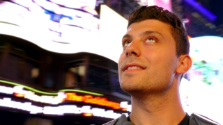 Thoughtful Young Man New York City Travel Times Square Manhattan Smiling Night Tourism USA Lifestyle Sightseeing Tourist Famous Illuminated Footage