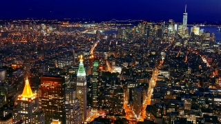 Drone Footage Skyscrapers Illuminated Manhattan New York City Aerial Modern Night Buildings Travel Famous Tourism Crowded USA