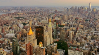 Aerial Drone Footage New York City Skyscrapers Modern Manhattan Dusk Famous Travel Crowded Tourism Buildings USA