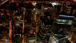 Footage Illuminated Skyscrapers New York City Modern Night Famous Travel Tourism Manhattan Building USA Crowded Timelapse