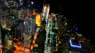 Illuminated Skyscrapers New York City Drone Footage Modern Night Famous Travel Tourism USA Manhattan Building Timelapse Crowded