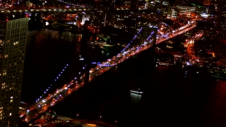 Drone Footage Illuminated Brooklyn Bridge Transportation City Manhattan Connection Travel USA River New York Landmark Timelapse Tourism Famous Modern