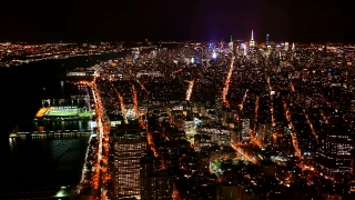 Aerial Drone Footage Illuminated Manhattan Crowded New York City Modern Night Skyscrapers Buildings Travel Famous Tourism USA Cityscape
