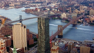Aerial Drone Footage Brooklyn Bridge Connection City Manhattan Travel USA New York River Landmark Timelapse Tourism Famous Architecture Skyscraper Modern