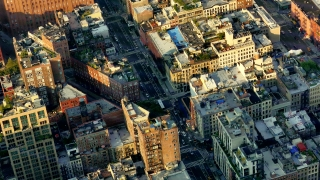 New York Footage Buildings Modern Famous Aerial Travel Drone Manhattan Tourism City Crowded USA Residential Architecture Timelapse