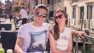 Couple Coffee Summer Vacation Cafe Honeymoon Cappuccino Cheerful Sunglasses Talking River Destination Tourists Bridge Freshness Love Casual Venice Famous Together