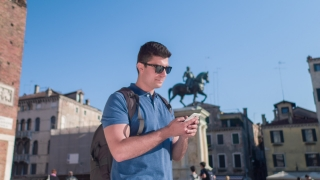 Man Smartphone Texting Handsome City Travel Venice Lifestyle Happy Vacation Famous Communication Tourist Building Leisure Summer Technology Mobile Phone