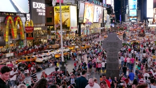 NEW YORK, USA - CIRCA JULY 2016: New York City tourists walk and take pictures under advertisement lights on Times Square in Manhattan .