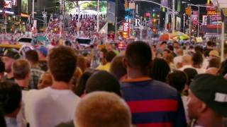 NEW YORK, USA - CIRCA JULY 2016: New York City people walk on Times Square in Manhattan .