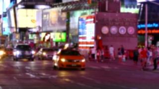 New York City Street Illuminated Night Manhattan USA Traffic Footage Road Transportation Connection Car Road People Buildings