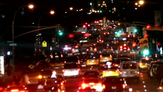 Illuminated City Street Night New York Manhattan USA Busy Traffic Footage Road Crowded Transportation Connection Car Taxi Road Sign