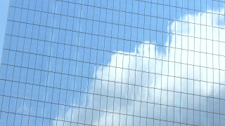 Low Angle Footage Skyscraper Reflection Clouds Glass Sky Corporate New York Building Architecture Blue City Modern Office Tall