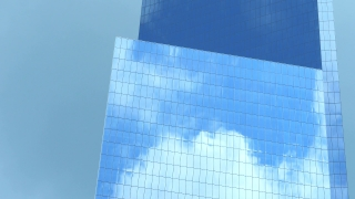 Skyscraper Reflection Clouds Glass Low Angle Footage Corporate New York Building Architecture Blue Sky City Modern Office Timelapse Tall