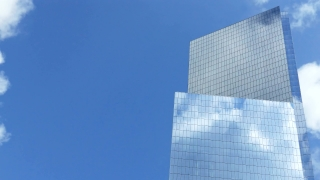Low Angle Skyscraper Reflection Clouds Glass New York City Footage Corporate Building Architecture Blue Sky Modern Office Timelapse Tall