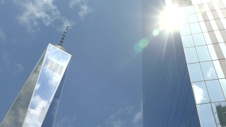 Low Angle Footage Sunlight One World Trade Center Sky Reflection Footage Modern Famous Travel New York City USA Manhattan Skyscraper