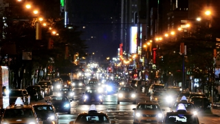 Illuminated City Street New York Manhattan Night USA Busy Traffic Footage Crowded Transportation Connection Car Taxi Road Lighting Buildings