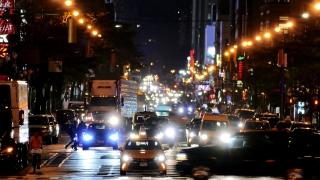 NEW YORK, USA - CIRCA JULY 2016: City street traffic in New York City Manhattan at night.