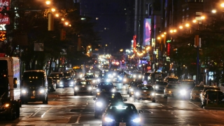 New York City Street Illuminated Manhattan Night Road USA Footage Busy Traffic Transportation Car Crowded Connection Buildings Taxi Lighting