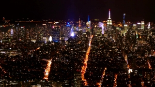 New York Cityscape Drone Footage Illuminated Skyscrapers Empire State Building Modern Night Famous Travel Crowded Tourism Manhattan USA