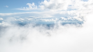 Aerial Mountains Taiga Clouds Fog Scenery Travel Nature Footage Beauty Idyllic Landscape Sky Evergreen Forest Timelapse Sunlight 4K Air Geology Scenic