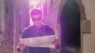 Man Direction Map City Travel Adventure Backpacker Destination Happy Lifestyle Lost Route Summer Tourist Sunglasses Vacation Searching Leisure