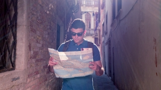 Man Reading Map Direction Travel Adventure Backpacker Destination City Happy Lifestyle Lost Route Summer Tourist Sunglasses Vacation Searching Leisure