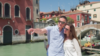Happy Couple Love Kissing Fun City Gondola Dating Travel Bridge Famous Lifestyle Vacation Tourists Leisure Smiling Embracing Romance Man Woman Enjoyment Italy