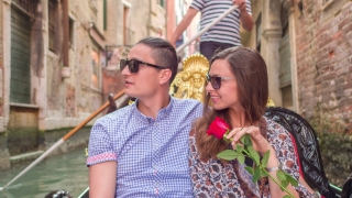 Couple Sightseeing Buildings Famous Honeymoon Gondola Canal Water Oaring Rose Sunglasses Happy Love Bonding Venice Europe Visiting