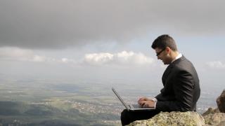 Laptop Internet Business Young Man Smile Success Businessman