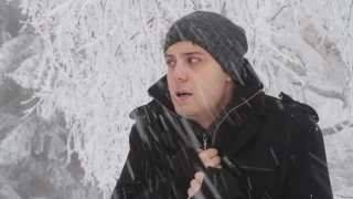 Man Cold Winter Outdoors Freezing Weather Snow Falling