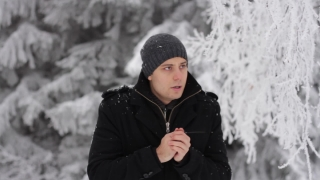 Young Man Coughing Winter Outdoors Freezing Hands