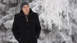 Man Walking Coughing Symptoms Sickness Winter Concept