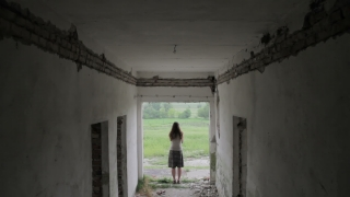 Depression Woman Standing at the End of Dark Tunnel New Hope