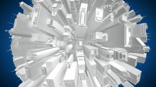3D City Buildings Globe Spinning - Seamless Loop HD
