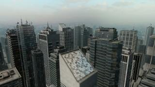 Aerial Flight Around 3D City Skyline Business Background Seamless Loop HD