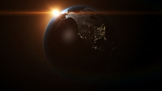 Planet Earth Rotating Loop Background with Sun, Stars and Lens Flare 3D HD