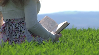 Young Woman Reading a Book on a Spring Filed