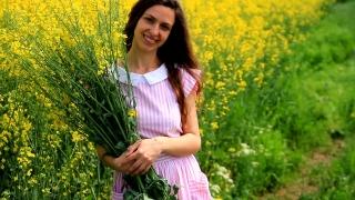 Pretty Woman Vintage Dress Relaxing Holding Herbs Summer Field