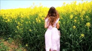 Female Model in Vintage Dress Running Field Slow Motion HD