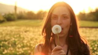 Beautiful Young Woaman Blowing Dandelion Laughing Summer Field