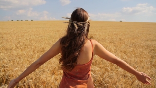 Young Healthy Woman Raising Hands in Summer Wheat Field HD